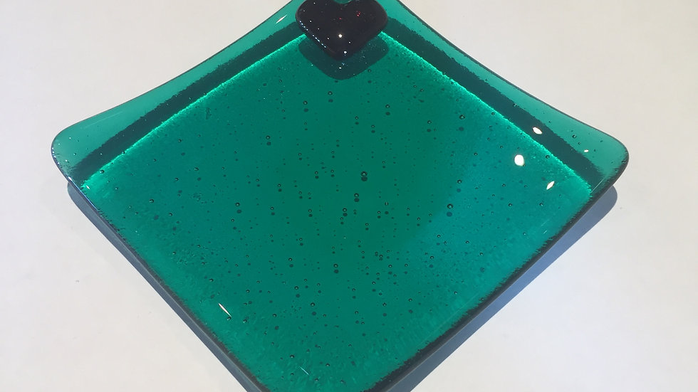 Emerald dish with a red heart 10cm x 10cm