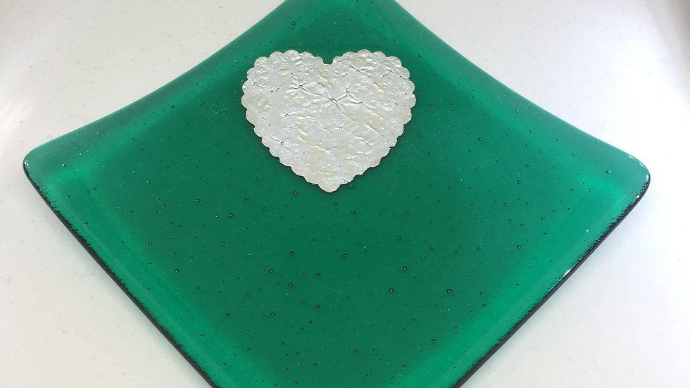 Emerald Green and Silver Heart Dish 10cm x 10cm
