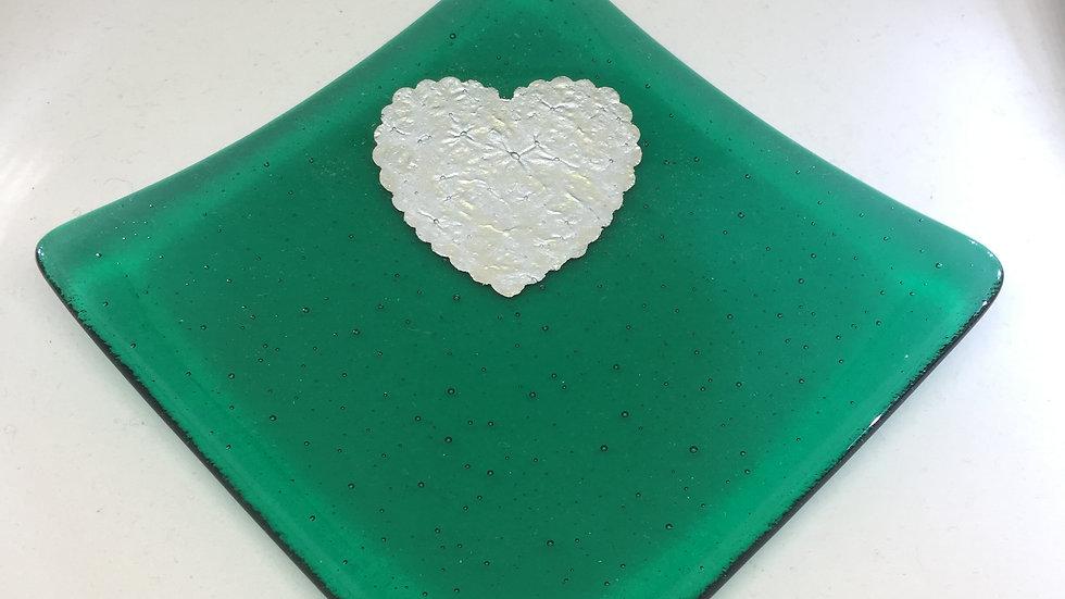 Emerald Green and Silver Heart Dish 10cm x 10cm
