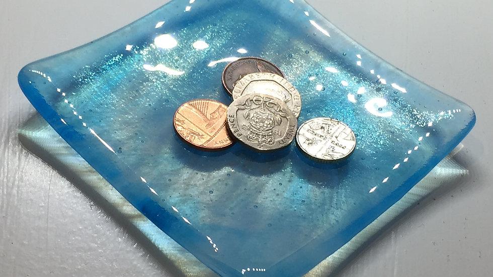 Turquoise Blue Wispy Dish 10cm x 10cm