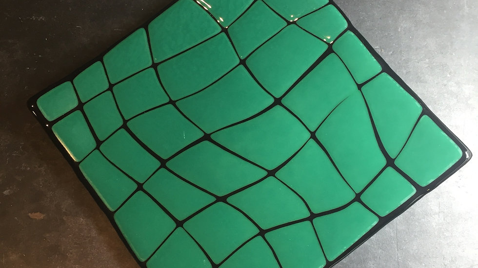 'Broken' Jade Green Square Dish 20cm x 20cm