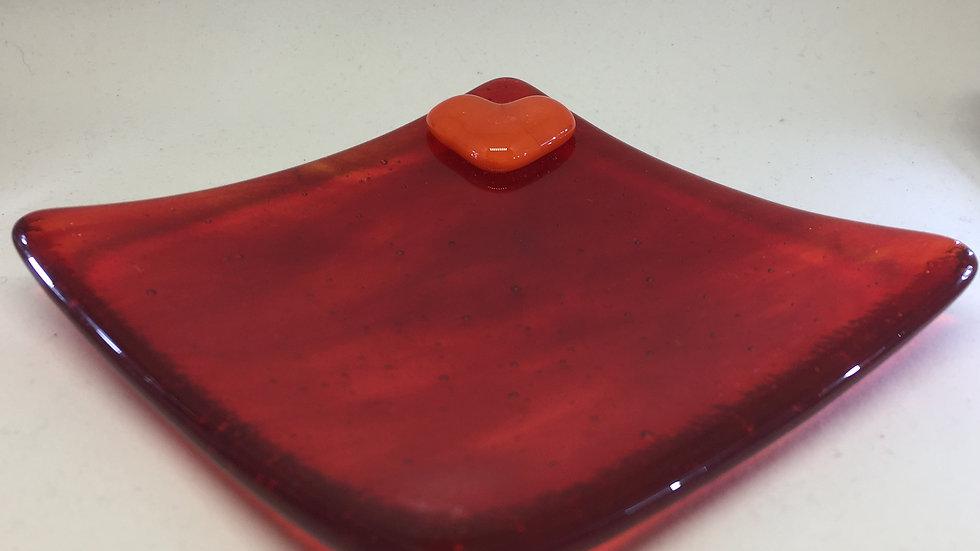 Red wispy dish with a pop of orange heart 10cm x10cm