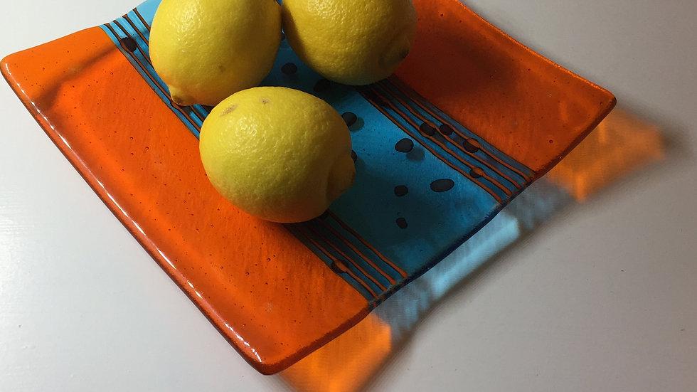Bright Orange and Turquoise Dish 20cm x 20cm