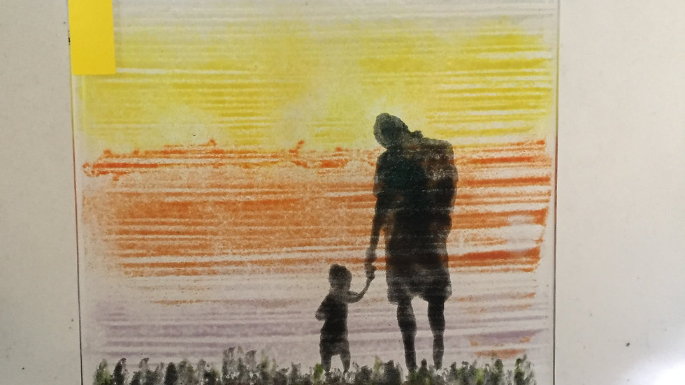 Father/GrandFather and Child Glass Panel
