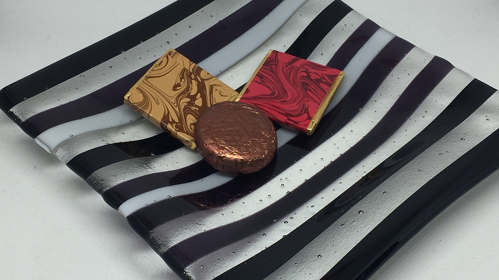 Black, deep purple and clear stripes 15cm x 15cm