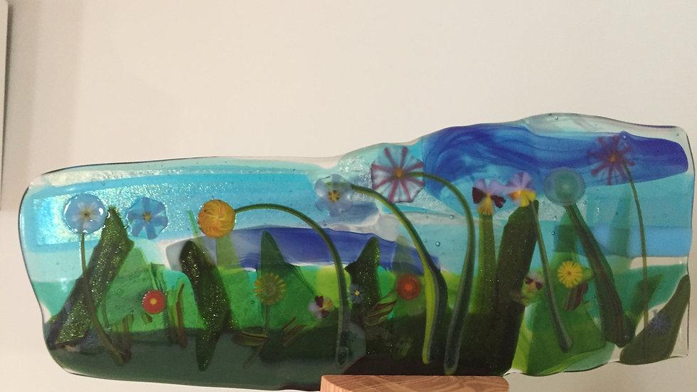 Pressed Glass Floral Panel 26cm x 10cm