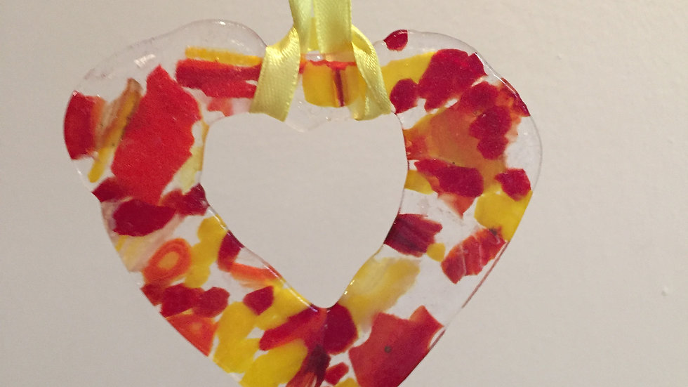 Pressed Glass Heart Sun Catcher