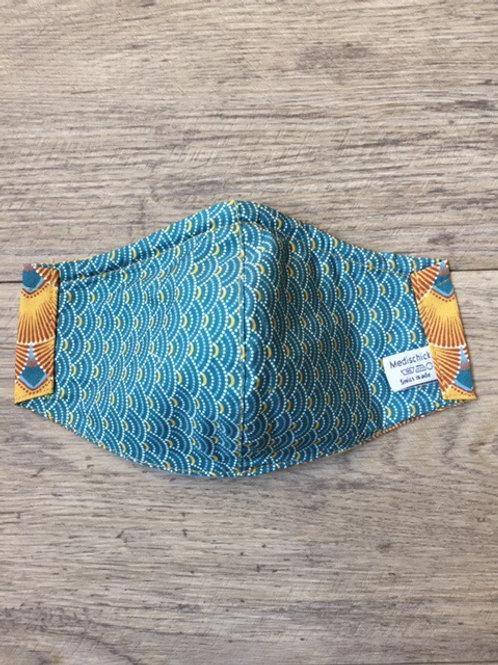 Schutzmaske Fächer Blau senfgelb
