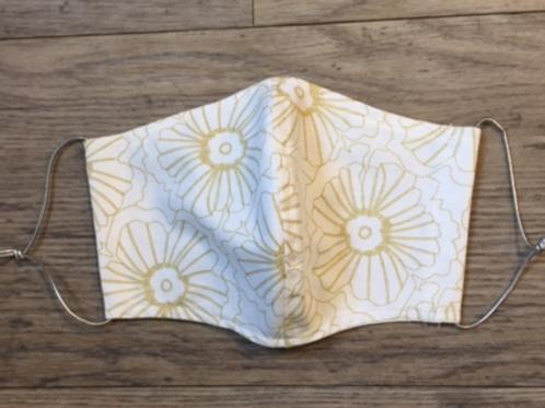 Schutzmaske Weiss goldene Blumen
