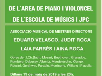 Concert dels deixebles de l'àrea de piano i violoncel de l'escola de músics i JPC