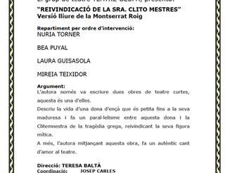 REIVINDICACIÓ DE LA SENYORA CLITO MESTRES (bolo)