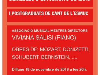 Deixebles d'estudiants de grau i postgraduats de cant de l'ESMUC: Viviana Salisi (piano)