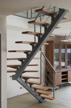 ecalier quart tournant acier bois