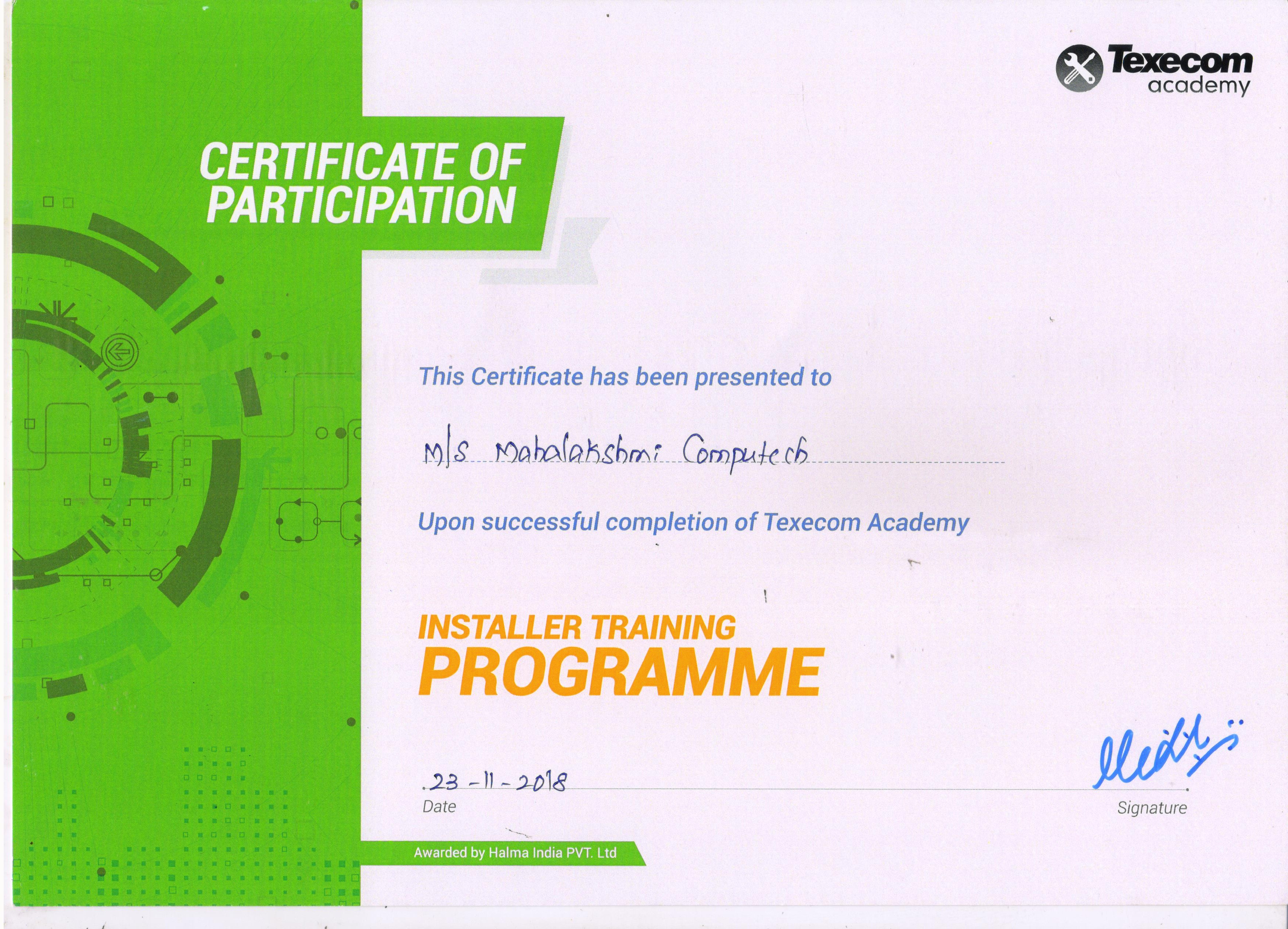 Texecom Certificate