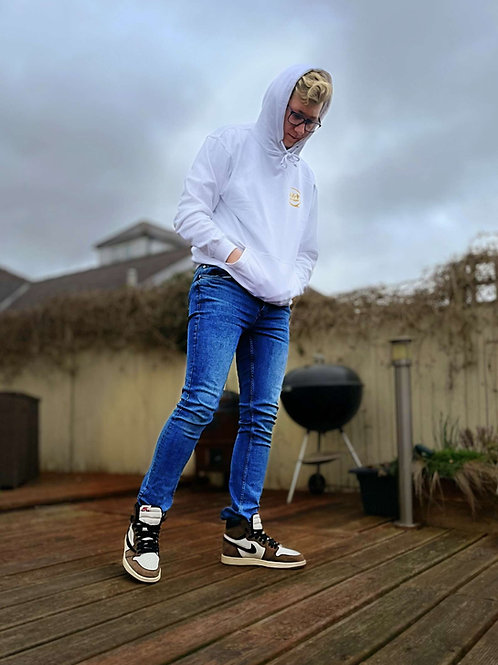 JG FITNESS HOODIE (WHITE HOODIE WITH GOLD LOGO)