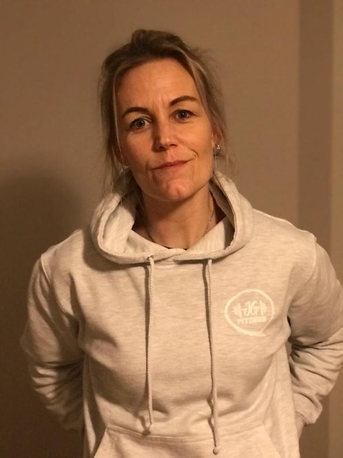 JG FITNESS HOODIE (ASH WITH WHITE LOGO)
