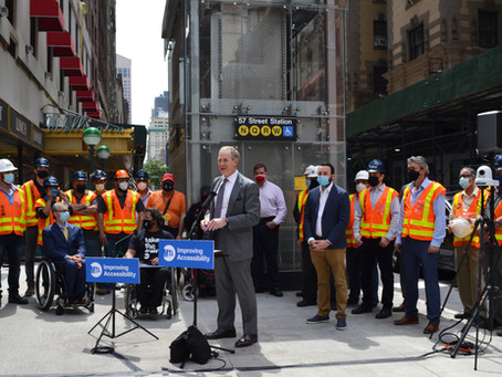 Elevators at 57th Street Station in Manhattan Were Completed Ahead of Schedule!