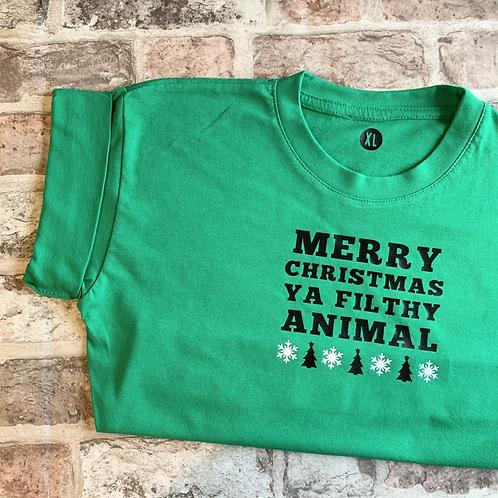 Merry Christmas Ya Filthy Animal  - Dog T-Shirt