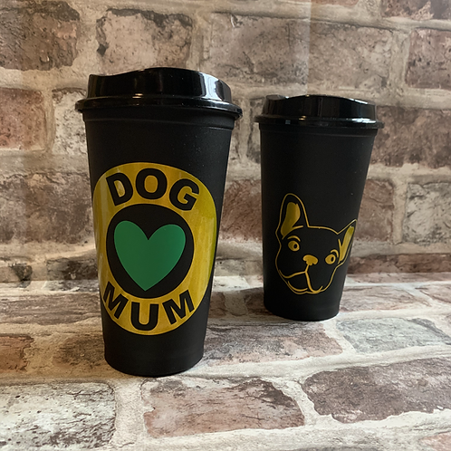 Reusable Starbucks Style Coffee Cup - Dog Mum  / Dog Dad - BLACK