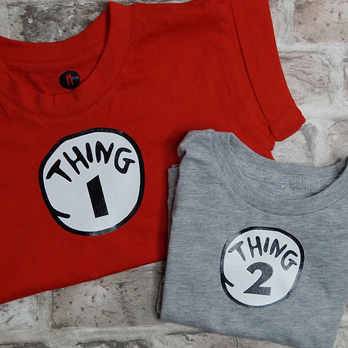 Thing 1 & Thing 2 Matching Dog Tee set