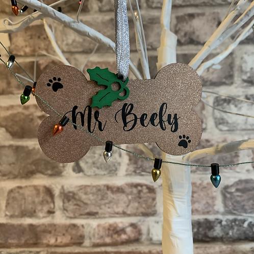 Glittery Bone Christmas Bauble - Dog/Cat