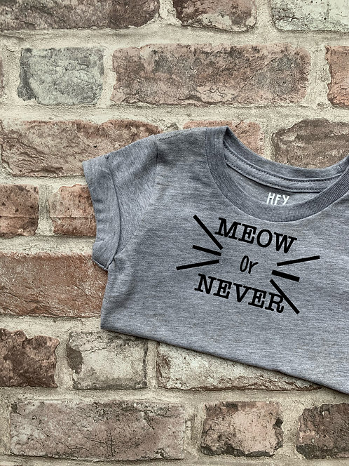 CAT - 'Meow or Never' Grey Tee