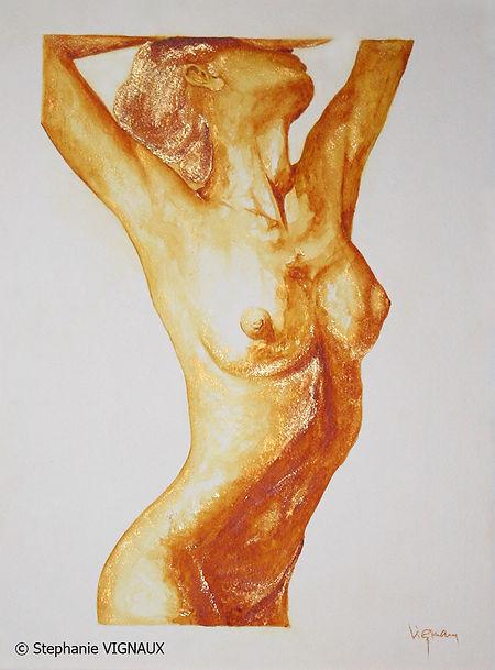 Comme le rire de Elizabeth Taylor. Aquarelle. Peinture de femme. Art figuratif. Tableau couleurs jaune orange or. Stéphanie Vignaux, artiste peintre à Tarbes. Hautes-Pyrénées. Occitanie. France