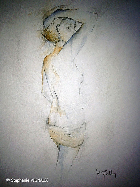 Si d'aventure. Technique mixte Aquarelle Encre. Peinture de femme nue. Tableau bleu ocre. Art. Figuratif. Stephanie Vignaux artiste peintre à Tarbes 65000. Hautes-Pyrénées. France
