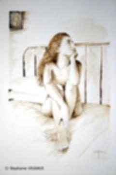 L'ivresse éternelle | Aquarelle | 40 x 30 cm | Copyright Stephanie VIGNAUX | Peinture de nu féminin sur un lit - Ibos
