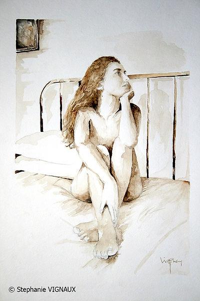L'ivresse éternelle   Aquarelle   40 x 30 cm   Copyright Stephanie VIGNAUX   Peinture de nu féminin sur un lit - Ibos
