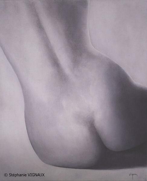 Mademoiselle L. Peinture de femme. Huile sur toile de lin. Tableau couleur gris violet. StéphanieVignaux, artiste peintre. Tarbes 65000
