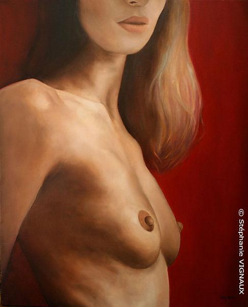 L'insolence d'Ylang. Peinture de femme nue. Huile sur toile de lin. Stéphanie Vignaux, artiste peintre, 65000 Tarbes