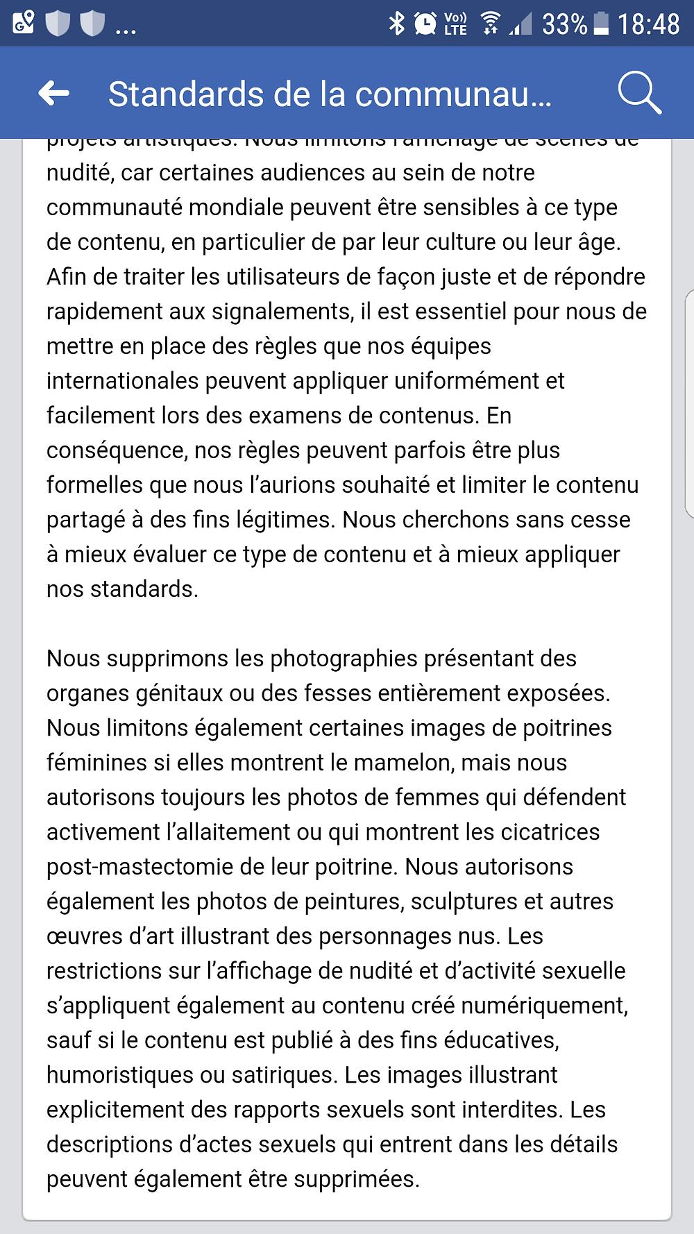 Charte FACEBOOK autorisant la publication de peintures de nu