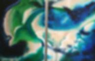 Quand, un jour, l'Histoire devient. Huile sur toile. Abstrait. Tableau couleurs bleu vert turquoise beige. Art. Stephanie Vignaux artiste
