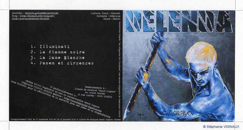 Peinture Technique mixte : huile et acrylique. Photographie de l'illustration de la pochette du CD du groupe Delenda. Stéphanie Vignaux, artiste peintre à Tarbes, hautes-Pyrénées. Art figuratif. Musique