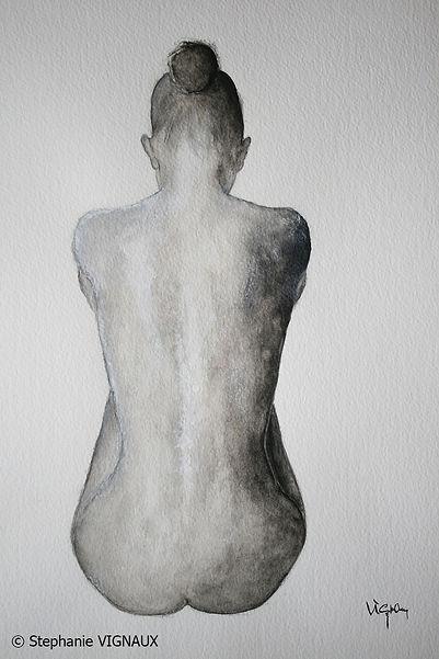 Tant et tellement. Technique mixte aquarelle craie pastel. Peinture de femme. Tableau gris noir. Art. Stephanie Vignaux artiste peintre à Tarbes, 65000, Hautes-Pyrénées. France