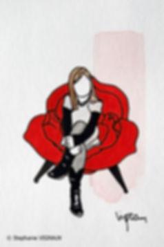 De la glace rose. Aquarelle. Peinture petite fille. Art figuratif. Tableau couleurs noir, rouge, blanc, marron. Copyright Stephanie Vignaux, artiste peintre à Tarbes, Hautes-Pyrénées, Occitanie, France. Collection privée Nîmes.