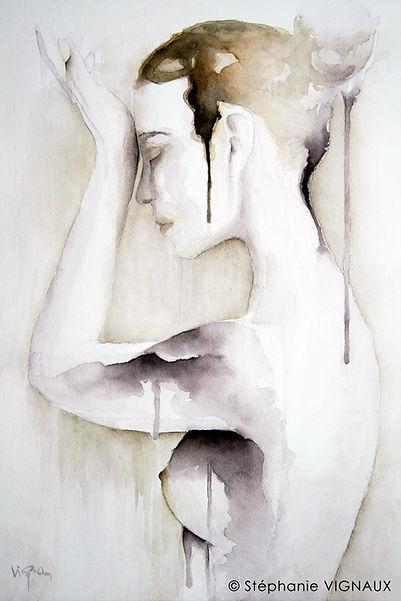 Déliquescence d'une jeune femme nu | Aquarelle | 40 x 30 cm | Copyright Stephanie Vignaux, artiste peintre. Nu féminin figuratif et contemporain