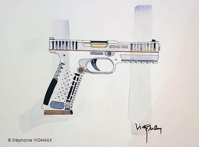 On ne tire pas qu'au flanc   Aquarelle et encre   30 x 40 cm   Copyright Stéphanie VIGNAUX, artiste peintre. Peiture de pistolet ARSENAL FIREARMS STRIKE ONE F1