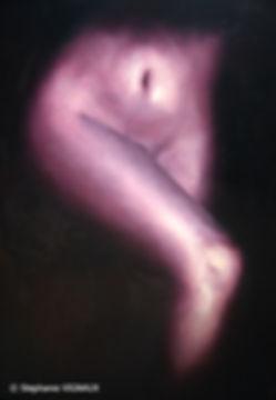 Le Théorème de Bell. Huile sur toile de lin. Peinture de femme. Violet. Stéphanie Vignaux artiste peintre. Art figuratif, réalisme. Tarbes 65000