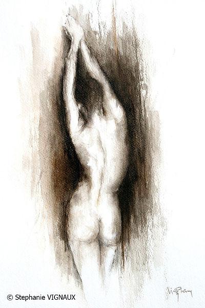 D'une rencontre avec Yann C. | Aquarelle | 40 x 30 cm | Copyright Stéphanie VIGNAUX | Peinture de femme nue
