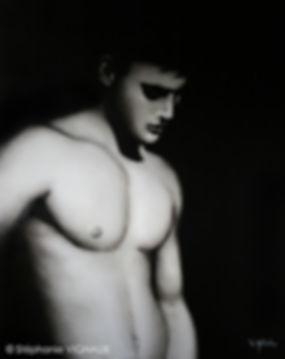 Peinture de nu homme masculin huile sur toile de lin stéphaie vignau artiste peintre figuraif réalisme tarbes art contemporain
