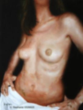 Victimes d'une pulsion. Huile sur toile. 80 x 60 cm. Copyright Stéphanie Vignaux. Peinture de nu féminin
