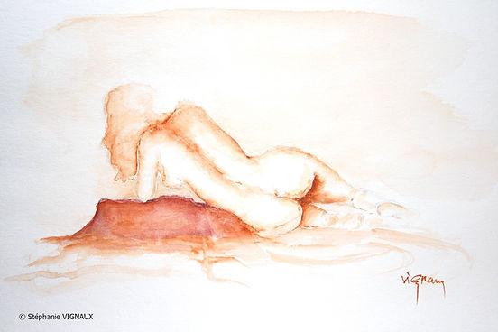 Pour quelques confidences   Aquarelle   24 x 32 cm   Copyright Stéphanie VIGNAUX   Peinture de femme nue