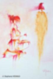 Sweet Baby Turn. Aquarelle. Peinture de femme. Art figuratif. Tableau couleurs orange rouge rose fuchsia. Copyright Stéphanie Vignaux, artiste peintre à Tarbes, Hautes-Pyrénées, Occitanie, France.