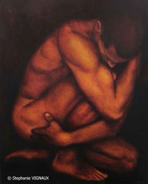 Comme s'ilétait encore unmystère pour elle. Huile sur toile de lin. Glacis. Peinture homme nu. Tableau couleurs orange brun marron jaune. Art. Stéphanie Vignaux artiste peintre à Tarbes 65000 Hautes-Pyrénées.