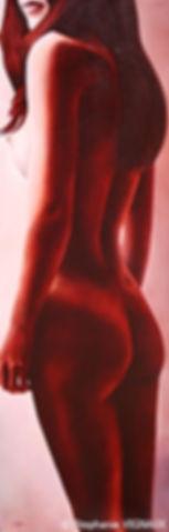 Les pommes d'or du jardin des Hespérides. Peinture de femme. Tableau rouge. Huile sur toile de lin. Stéphanie Vignaux, artiste peintre. Tarbes (65000)