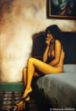 Au pas de nos lendemains. Huile sur toile de lin. Glacis. Peinture de femme. Lancrenon. Tableau couleurs ocre jaune kaki brun. Art. Stephanie Vignaux artiste peintre à Tarbes 65000. France
