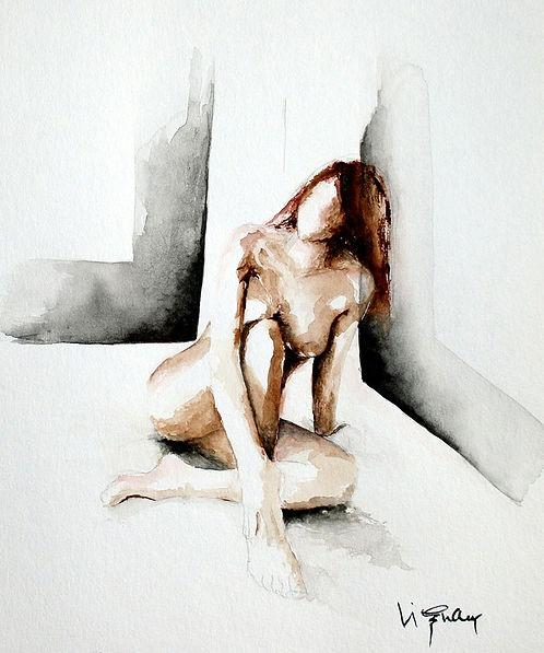 Moyen de pression   Aquarelle   40 x 30 cm   Copyright Stephanie VIGNAUX   Peinture de nu féminin