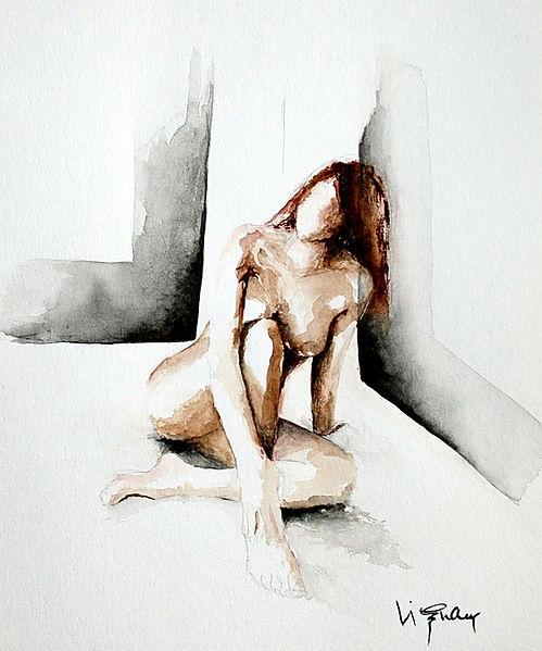 Moyen de pression | Aquarelle | 40 x 30 cm | Copyright Stephanie VIGNAUX | Peinture de nu féminin